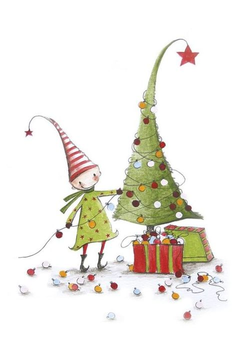 Les Bottines De Lili Cartes Aquarelle De Noel Illustration Noel