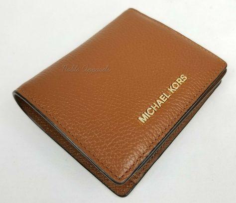 78688ccd949831 Michael Kors Mercer Pebbled Leather RFID Bi-fold Wallet in Luggage | eBay