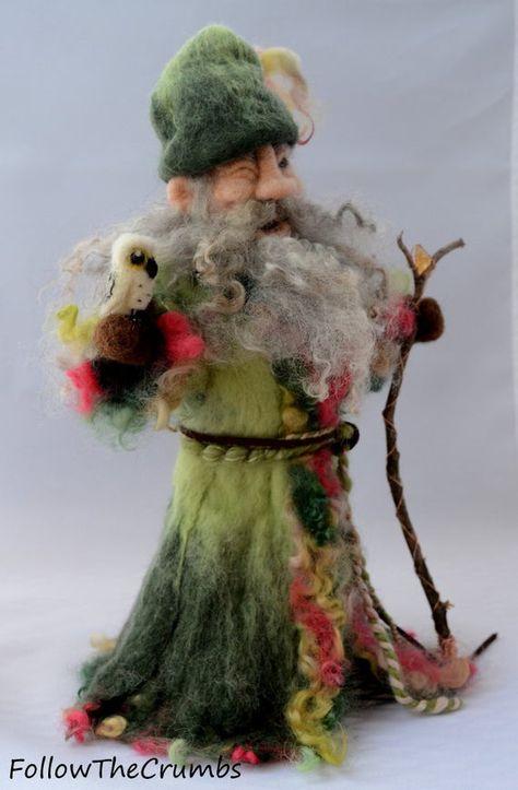 Wizard Green Owl Fiber Art Wool Sculpture Harry Potter | Etsy