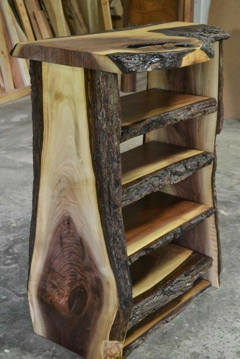 This Is A Neat Little Shelving Unit It Looks Like Someone Took A Log And Sliced It To Make It Rustic Wooden Shelves Rustic Furniture Design Wood Table Diy