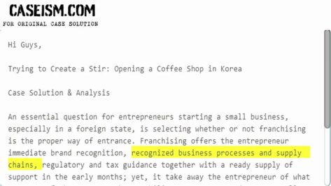 Trying To Create A Stir Opening A Coffee Shop In Korea Case