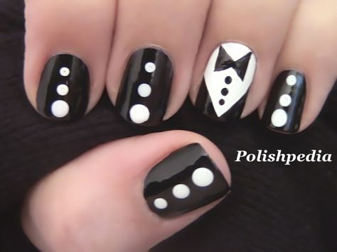 Chic yet Elegant! What do you think about this design?    Watch My Video Tutorial @ http://www.polishpedia.com/tuxedo-nail-art.html
