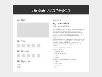 The Style Guide Template Typography - guide templates