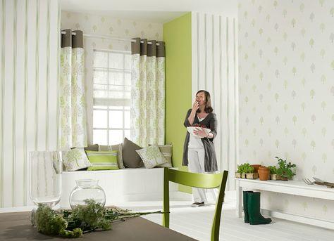 Collection DELICES. Nature, feuilles, vert, beige, blanc rideaux, papier-peint
