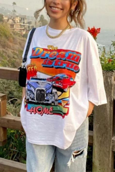 White Car Letter Print Graphic T Shirts Women Oversized Loose Casual Streetwear Short Sleeve 2021 Summer Fashion Top Plus Size