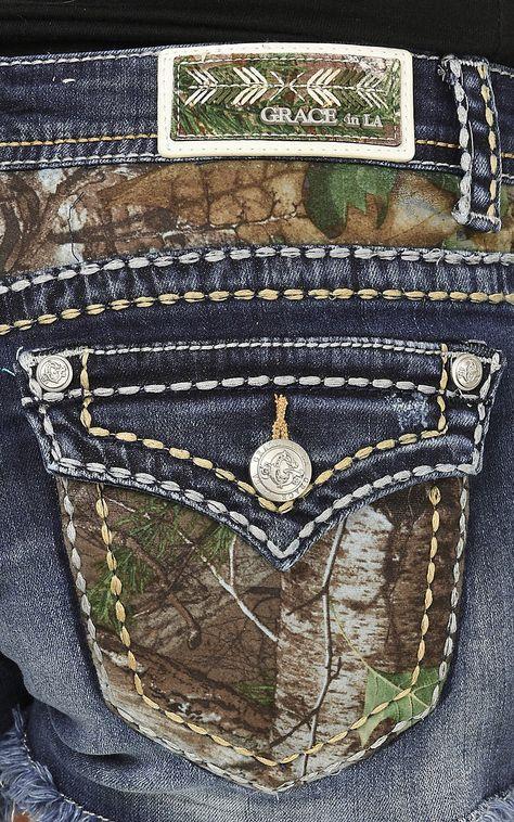 Grace in LA Women's Medium Wash with Camo Pockets Button Down Pocket Shorts   Cavender's