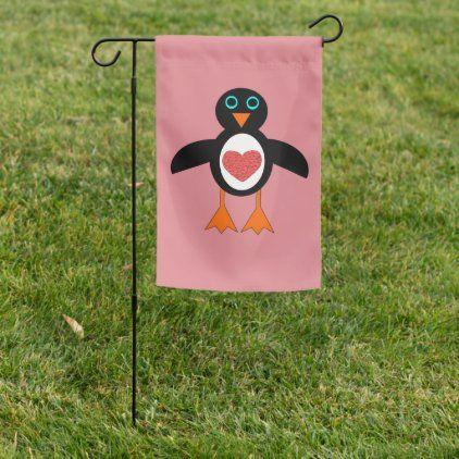 Cute Love Heart Penguin Garden Flag Zazzle Com Cute Love Custom Garden Flags Cute Love Heart