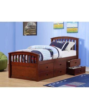 Twin Spindle Mission Captains Bed With 6 Drawers Dark Brown