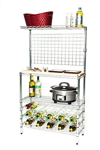 14 Deep X 36 Wide X 54 High Deluxe Chrome Bakers Rack With Wine