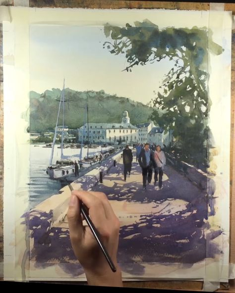 "For this watercolor painting, I've chosen a romantic scenery in Honfleur, Normandy, France. I discovered this scene along the pier at the entrance of the harbour next to the public garden called ""Le Jardin retrouvé"" (The Garden Found). This watercolor demonstration video shows romantic couples walking hand in hand on the pier, a seascape with docked sailboats, lovely buildings against the green hillside. #watercolordemo #watercolordemonstration #watercolour #seascape #watercolor #watercolors"