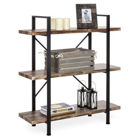 Industrial Scientific Bookshelves In Living Room Open