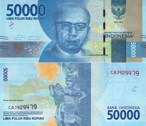 Indonesia 50000 50,000 Rupiah 2016 P-New New Design Unc