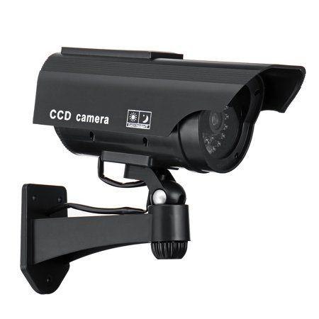 BLK SOLAR FAKE CCTV CAMERA RED LED POWER LIGHTS Dummy Security Camera