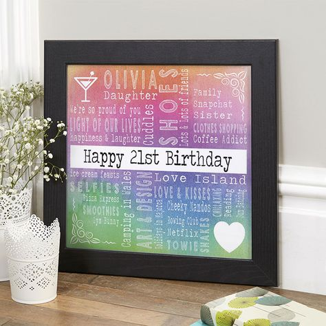 21st Birthday Gift For Her Of Favourite Things With Changeable Corners Watercolour Rainbow Colour Option Beautiful Personalised Word Art Gifts To