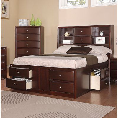 NEW Modern Espresso Wood King Size Bed Bedroom Bookcase Storage Space Headboard