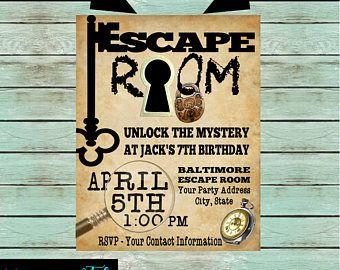 Image Result For Diy Escape Room Invitations Birthday Party Invitations Kids Birthday Party Invitations Escape Room