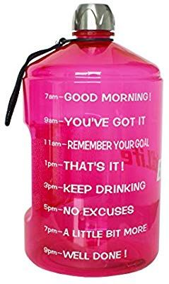 Amazon Com Buildlife 1 Gallon Water Bottle Motivational Fitness Workout With Time Marker Drink Mo Gallon Water Bottle 1 Gallon Water Bottle Hydration Bottle