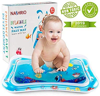 Amazon Com Nashrio Baby Water Mat Infant Floating Playground Tummy Floor Toy For Early Development Infla Tummy Time Toys Baby Play Mat Tummy Time Activities