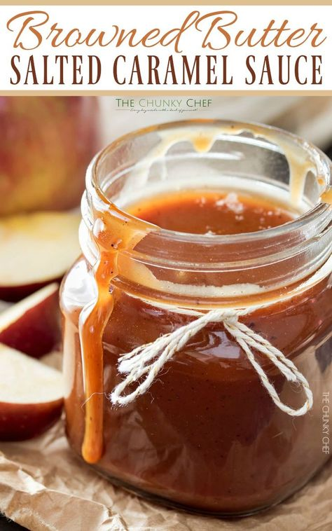 Once you try homemade salted caramel sauce, you won't ever want store bought again! The browned butter gives this sauce an amazingly deep flavor! Caramel Recipes, Candy Recipes, Sweet Recipes, Dessert Sauces, Dessert Recipes, Salted Caramel Sauce, Salted Caramels, Fudge Sauce, Desserts