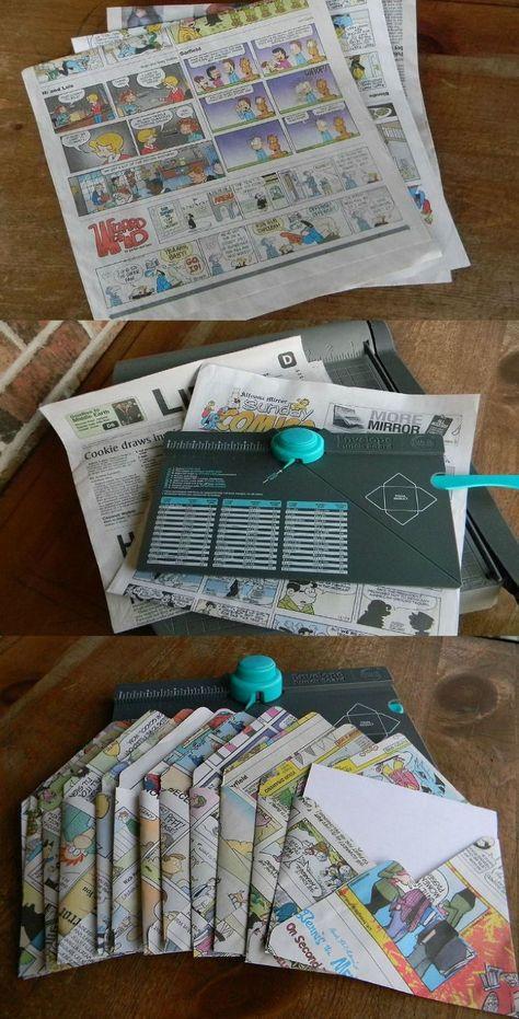 Recycle Newspaper Cartoons into Chic Envelopes newspaper crafts Making envelopes from Recycled paper Recycle Newspaper, Newspaper Crafts, Sunday Newspaper, Book Crafts, Envelope Art, Envelope Punch Board, Origami Envelope, Envelope System, Newspaper Cartoons