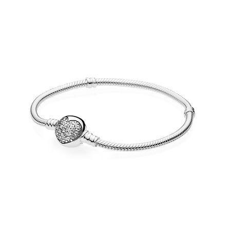Pandora Moments Sparkling Heart Clasp Snake Chain Bracelet ...