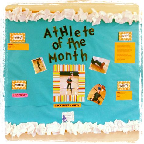 Who said PE couldn't be cute?  Physical education bulletin board.