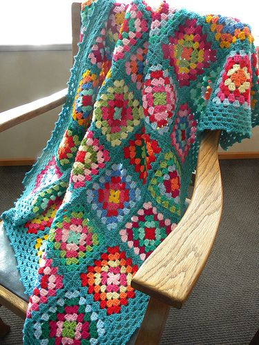 crochet granny squares: blues & reds