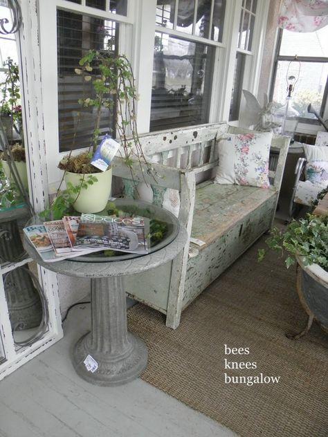 bird bath as bathroom tub table. chalk painted. white, grey, chippy