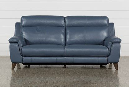 Tremendous Moana Blue Leather Dual Power Reclining Sofa With Usb Dailytribune Chair Design For Home Dailytribuneorg