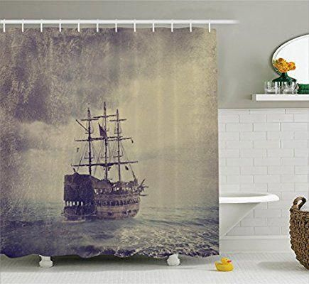 Sailboat Nautical Decor Shower Curtain Set By Ambesonne Old