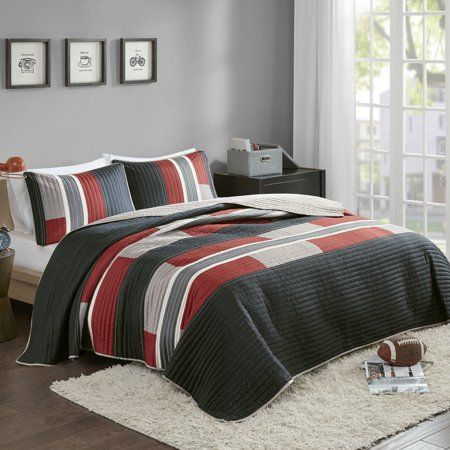 Comfort Spaces Pierre Mini Quilt Set Twin Twin Xl Black Red Walmart Com In 2021 Red Bedding Sets Red Bedding Kids Bedding Sets