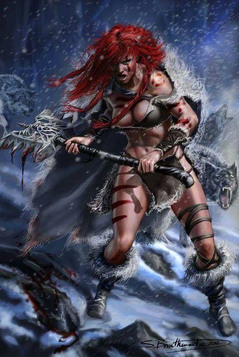 f Barbarian Cloak WarHammer Wolves Night Winter Snow Red Sonja by SBraithwaite lg Fantasy Girl, Fantasy Anime, Fantasy Female Warrior, Dark Fantasy Art, Fantasy Women, Fantasy Artwork, Red Sonja, Fantasy Characters, Female Characters