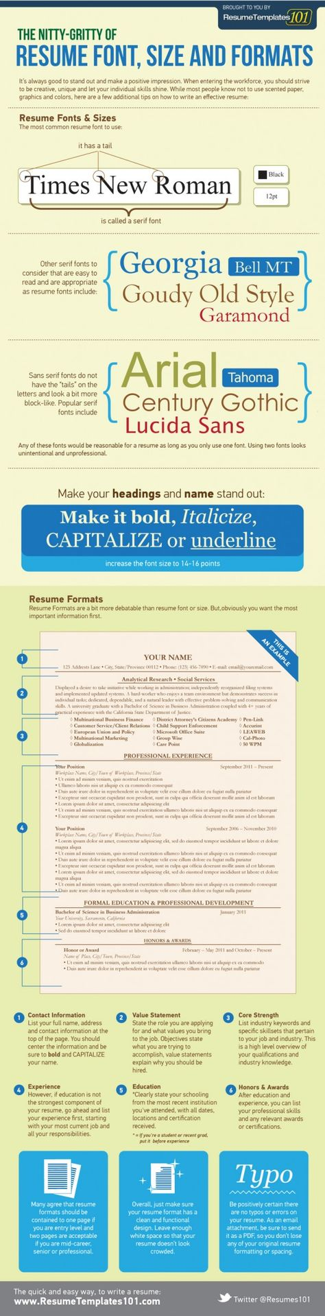 Best Fonts and Proper Font Size for Resumes