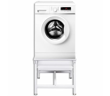 Vidaxl Washing Machine Pedestal With Pull Out Shelf White Vidaxl Com Washing Machine Pedestal Laundry Pedestal Washing Machine