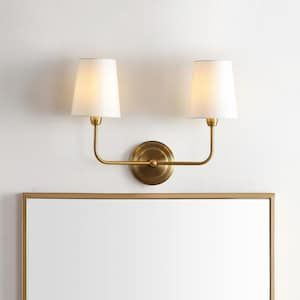 Safavieh Jaxson 17 5 In W 2 Light Brass Gold French Country Cottage Wall Sconce Lowes Com Wall Lights Wall Sconce Lighting Wall Sconces