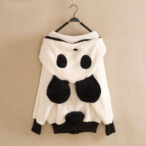 Winter Cute Hairball Panda Animals Hoodies Thicken Fleece Sweatshirts only…