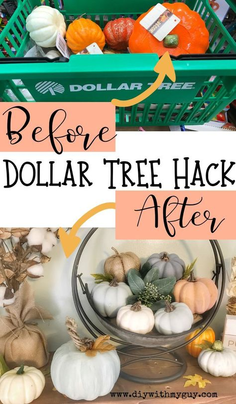 Try this easy Dollar Tree Hack to turn cheap pumpkins into Pottery Barn inspired Farmhouse Pumpkins. The most gorgeous cheap fall decor you will find! diy Cheap Fall Decor DIY Farmhouse Pumpkins- Dollar Tree Hack - DIY With My Guy Dollar Tree Decor, Dollar Tree Crafts, Dollar Tree Pumpkins, Dollar Tree Fall, Dollar Tree Halloween Decor, Dollar Tree Wedding, Halloween Mantel, Halloween House, Fall Halloween