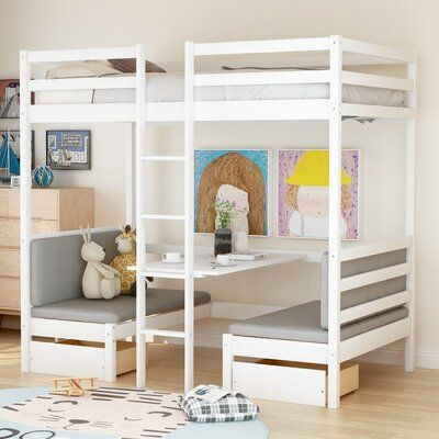 This bunk bed has a multifunctional effect. The bed has an entire fence. The bed can be turned into a table. This versatile bunk bed is the best gift for your child. They can also stay with their friends at night to share this bunk bed. Lofted Dorm Beds, Twin Bunk Beds, Modern Bunk Beds, Girls Bunk Beds, White Bunk Beds, Bunk Bed Rooms, White Desk Bed, Bunk Beds For Kids, Bunk Bed Ideas For Small Rooms