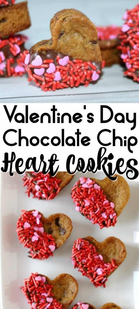 Valentine's Day Chocolate Chip Cookie Hearts are the perfect easy Valentine's Day dessert! Easy to make using pre-made cookie dough or your favorite cookie recipe! These heart shaped cookies will be your new go-to Valentine's Day treat! #valentinesday #de