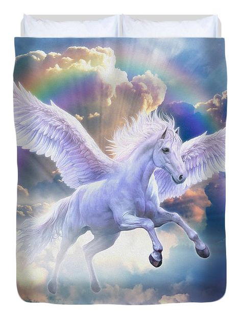 Rainbow Pegasus Duvet Cover (Full) by Jan Patrik Krasny. Available in king…