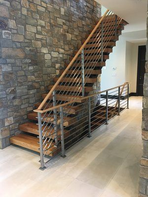 Double Stringer Open Risers Modern Stairs Interior Stair Railing Modern Staircase