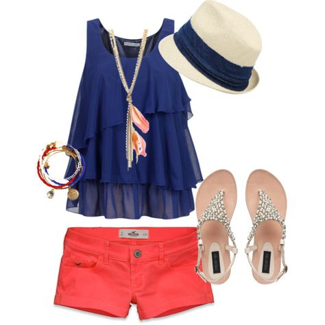 "The perfect summer outfit: blue top, coral shorts and jewel-sandal. Plus some nice accessorizes: Panama hat, wirstbands and feather necklace.  ""Summer Fun"" on Polyvore.  Perfetto per l'estate (be' a noi tocca aspettare ancora un po'..) top blu, pantaloncini corallo, sandali argentati e gli accessori giusti: cappello di paglia, bracciali ed una collana con le piume"