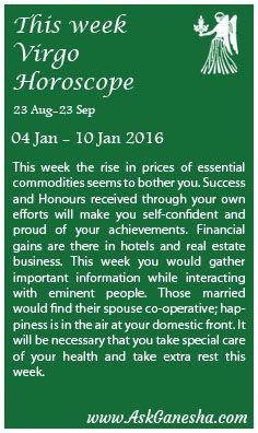 virgo weekly horoscope 10 january