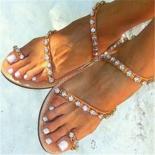 ed7ddafe850d 2017 Summer women shoes sandals Beading Rhinestone Thong Flat sandals women  gladiator sandals women sandalia