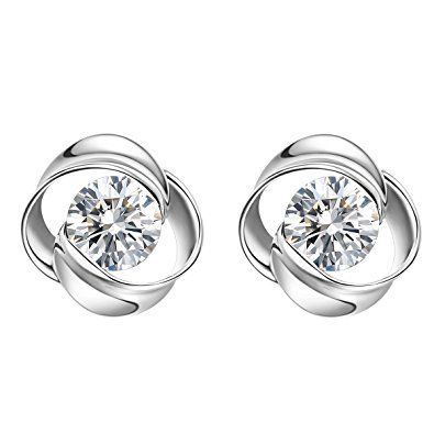 Carleen Solid 10k White Gold Cubic Zirconia Stud Earrings For Women With Images Women S Earrings Earrings Stud Earrings