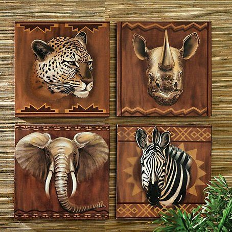Africa themed on pinterest abstract oil safari animals for African bathroom decor