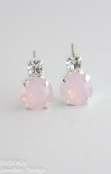 925 sterling silver stud earrings with Rose quartz cabochons