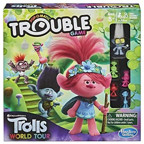 Trouble Dreamworks Trolls World Tour Edition Board Game For Kids Ages 5 And Up Includes Tin Board Games For Kids Dreamworks Trolls Games For Kids