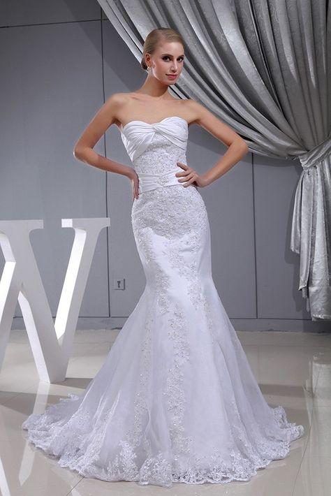 9a5a01271159b Beautiful Mermaid Sweetheart Beaded Lace Wedding Dress Bridal Gown