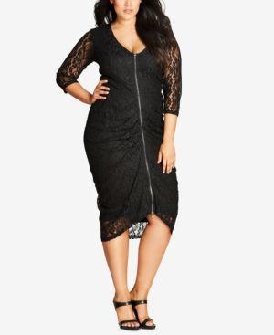 City Chic Trendy Plus Size Zip-Up Lace Midi Dress - Black XXL ...